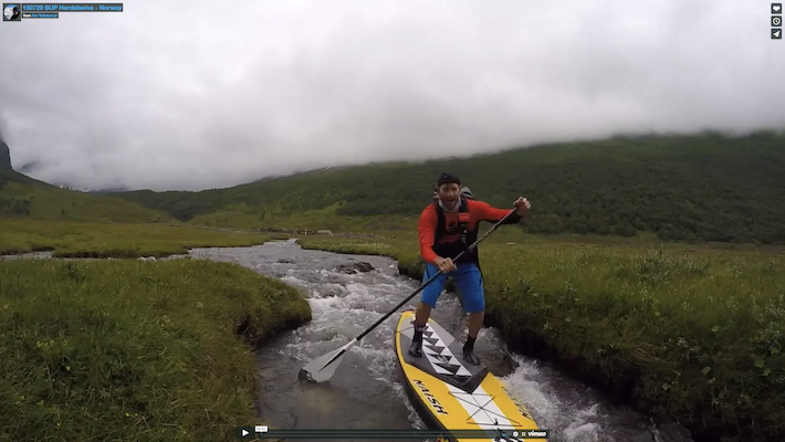 SUPing down a tiny creek in Norway