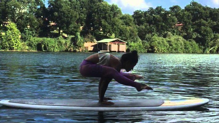 SUP yoga demo on Lake Austin, Texas