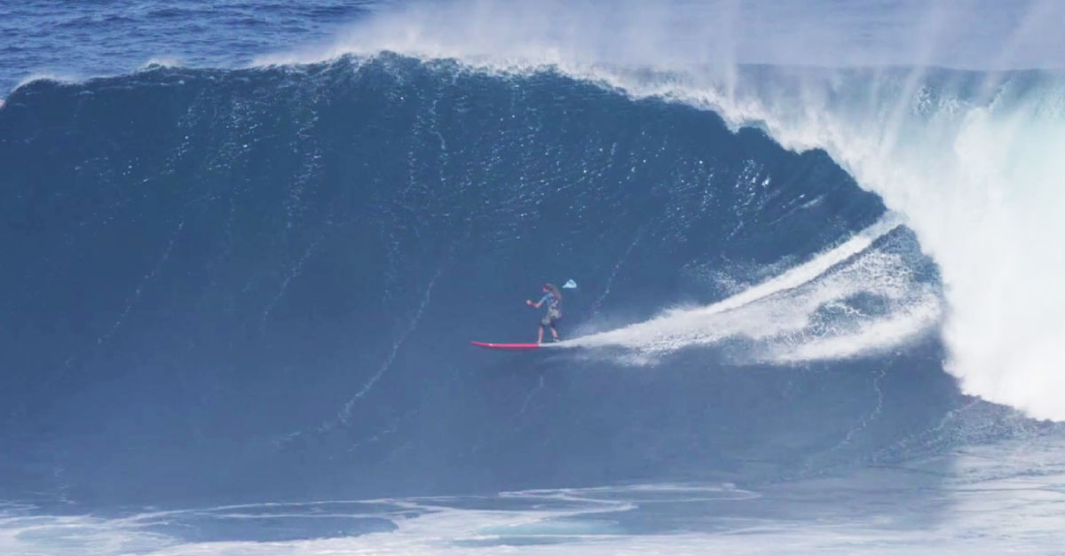 Keali'i Mamala SUP surfing one of the biggest waves in the world