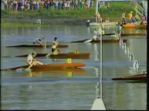 Larry Cain winning the Sprint Canoe Gold Medal at the 1984 summer Olympics