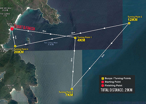 The 2nd Hong Kong International SUP Championship 21km Elite Race map