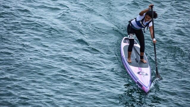 Erika Benitez paddling