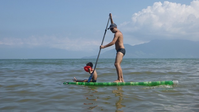 Plastic Bottle SUP on the water 13