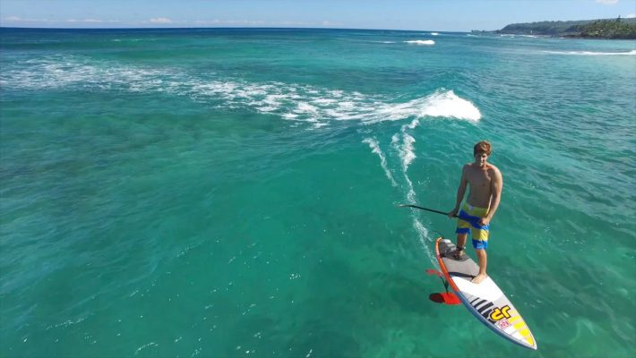 Keahi de Aboitiz SUP Foiling on the Clear Water of Oahu