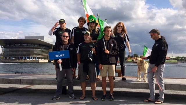 The Irish team assemble on the first day of the 2017 ISA World SUP Championship in Copenhagen