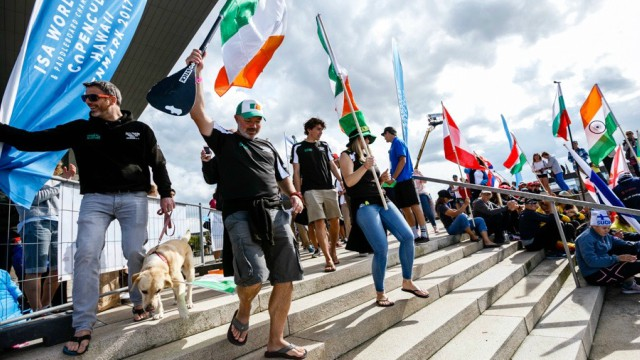 Some members of Team Ireland march down the steps at the official opening ceremony of the 2017 ISA World SUP Championship in Copenhagen, Denmark