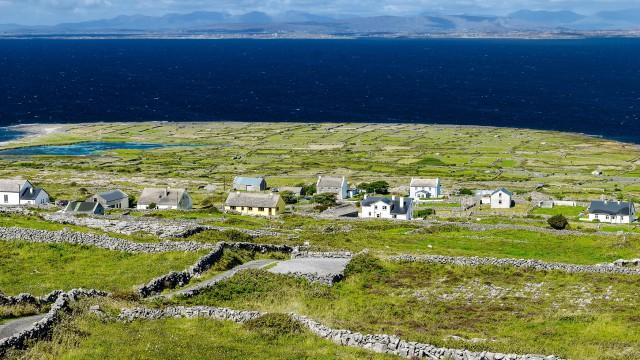 Traditional stone fences seen on Ireland's Aran Islands