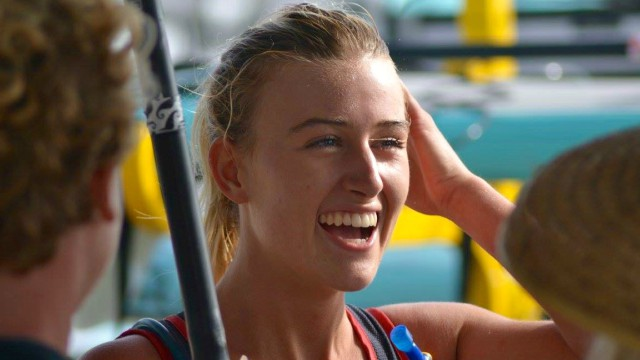 Shae Foudy in the midst of some R&R at the 2016 Pacific Paddle Games