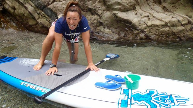 Starboard SUP rider Yuka Sato enjoys a spot of SUP on her downtime