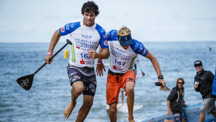 Mo Freitas and Connor Baxter make a final dash for the finish line at the Technical Race at the 2017 ISA World Championship in Denmark