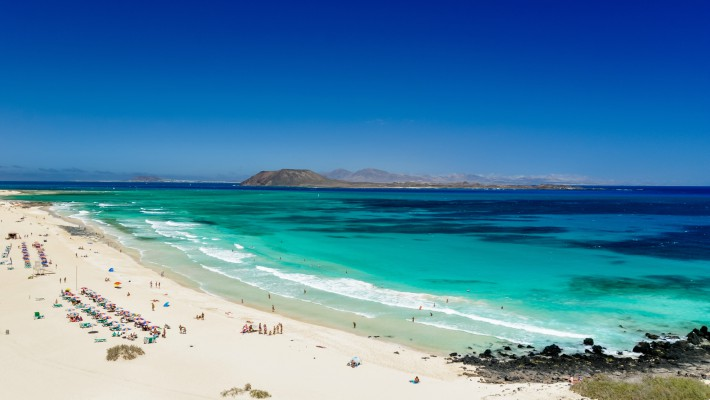 View from Corralejo Beach, Fuerteventura, the Canary Islands, Spain