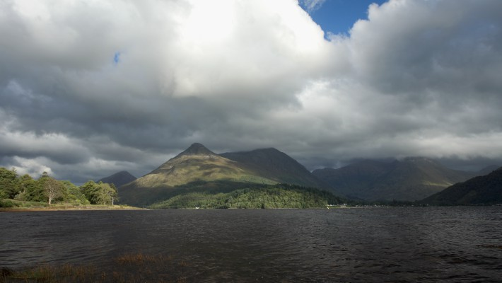Storm cloud begin to gather over Glencoe, Scotland
