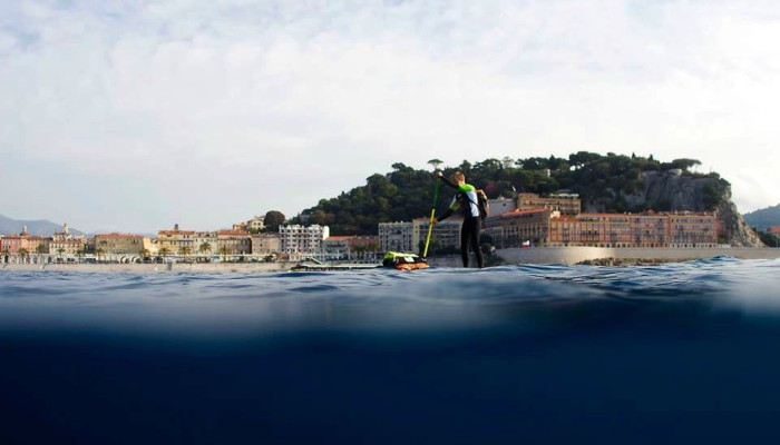 Max Houyvet practices his SUP technique near his home in the south of France