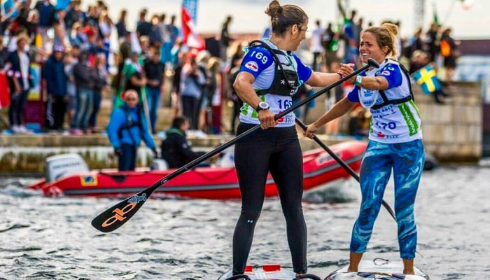 Susak Molinero with teammate at the 2017 ISA World Championship in Denmark