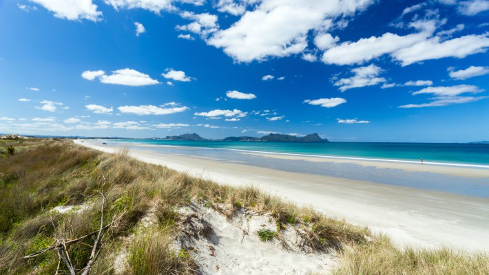 An idyllic uncrowded beach in Whangarei, New Zealand