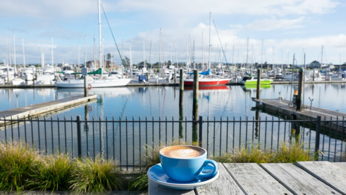 A quiet coffee overlooking Whangarei Marina, New Zealand