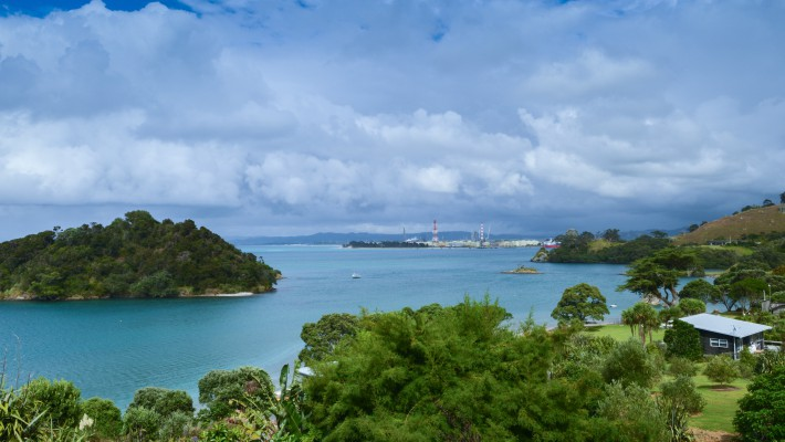 A coastal scene looking out towards the port from Whangarei Heads, New Zealand