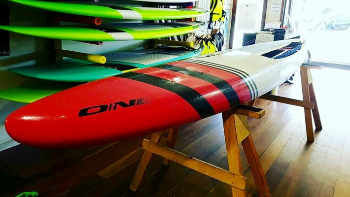 A freshly produced ONE Stand Up Paddle board, a brand of which Angela Jackson is a Co-Founder