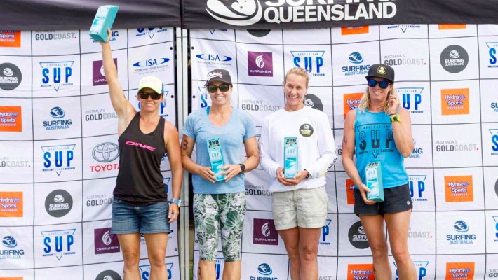 Angela Jackson proudly flaunts her victory at the 2017 Australian National SUP Championship