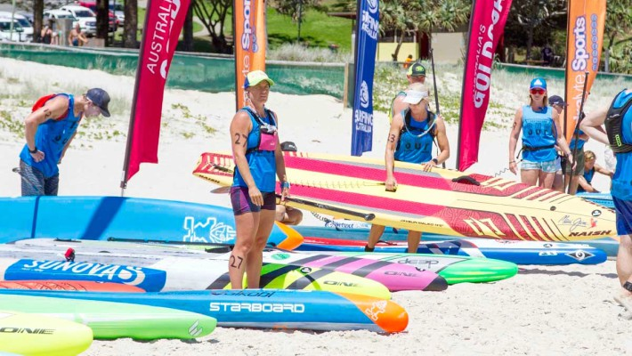 Angela Jackson surveys the scene between races at the 2017 Australian National SUP Championship