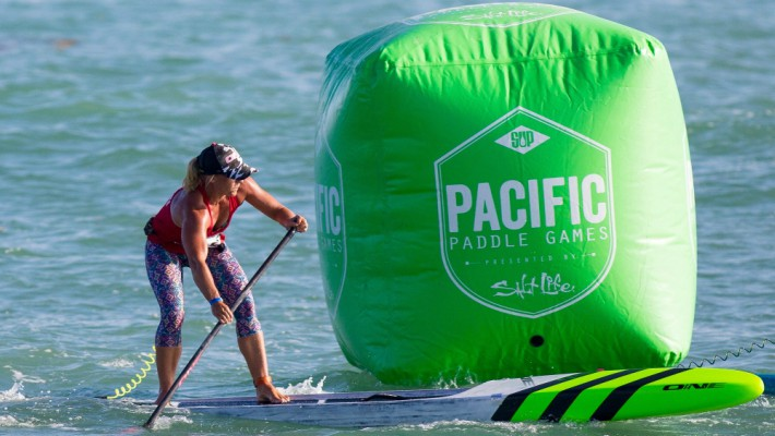 Angela Jackson makes a turn at the buoy during the 2017 Pacific Paddle Games in Dana Point, California