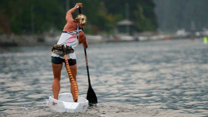 Angela Jackson engages in some intensive flatwater SUP training