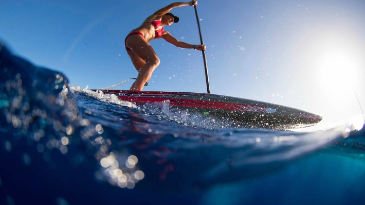 Annabel Anderson making great strides (in the literal sense) on flatwater in Tahiti