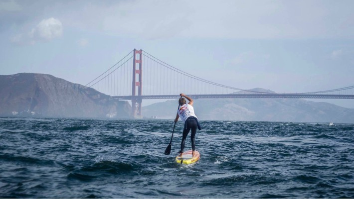 Casper Steinfath heads towards the iconic Golden Gate Bridge in San Francisco, California, on a practice session before the 2017 Red Bull Heavy Water competition