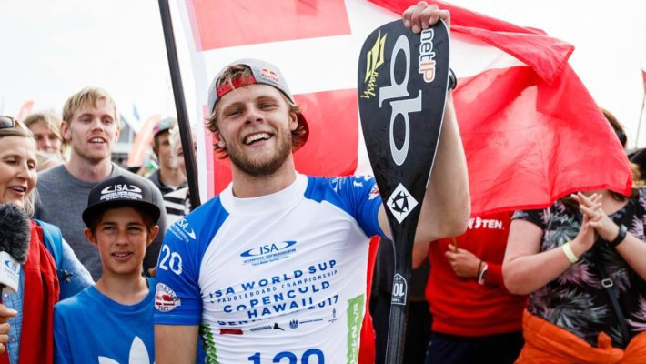 Casper Steinfath poses with his Quickblade paddle following a win at the 2017 ISA World Championship in Denmark earlier this year