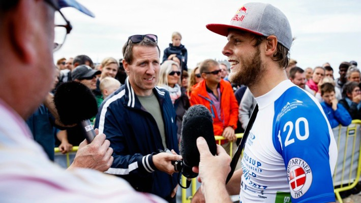 Casper Steinfath pauses to answer questions from the local press at the 2017 ISA World Championship in Denmark earlier this year