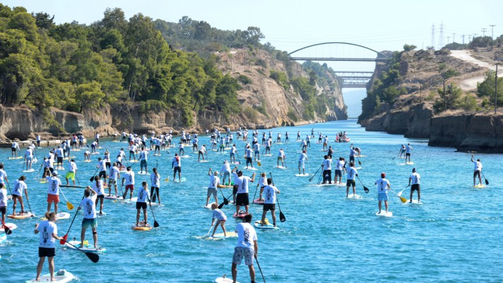 Competitors battle it out at the 7th Annual Corinth Canal SUP Crossing 2017 in Greece