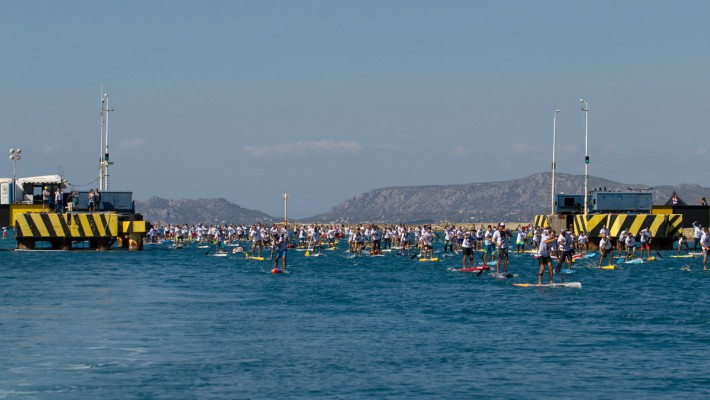 Competitors set off at the 7th Annual Corinth Canal SUP Crossing in Greece