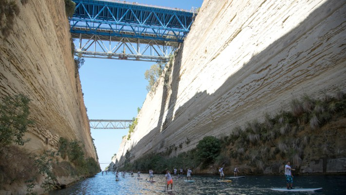 Competitors go head-to-head and make their way through the imposing Corinth Canal in Greece for the 7th Annual Corinth Canal SUP Crossing 2017