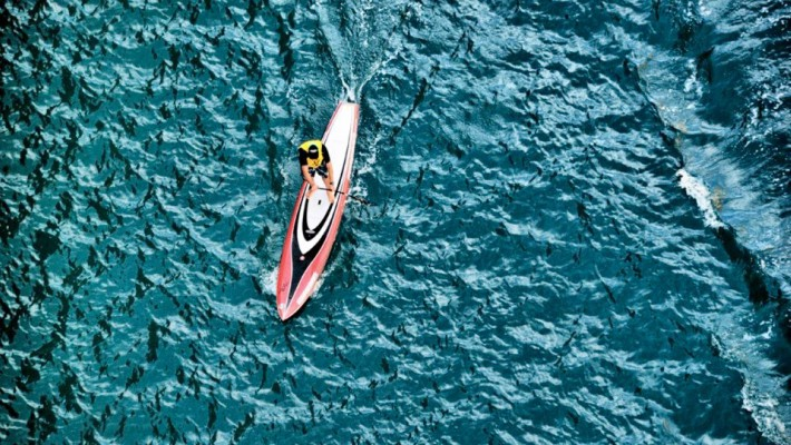 Aerial view of Dimitris Komninos on one of his serial downwind runs