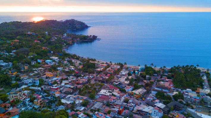 The peaceful bay area in Sayulita, Mexico, by sundown
