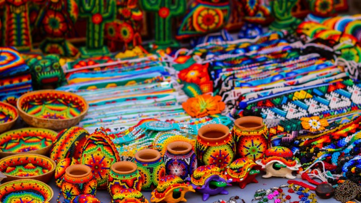 Traditional Mexican wares are sold at a stand in the seaside town of Sayulita, Mexico