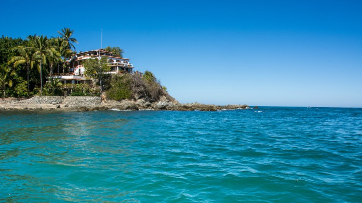 Turquoise waters may be observed in the bay area in Sayulita, Mexico