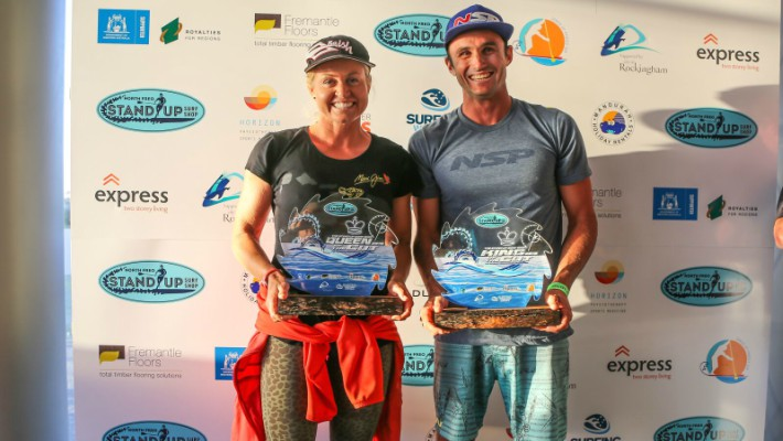 Australian SUP rider Karla Gilbert and New Caledonian SUP rider Titouan Puyo pose with their prizes at the 2016 King of the Cut
