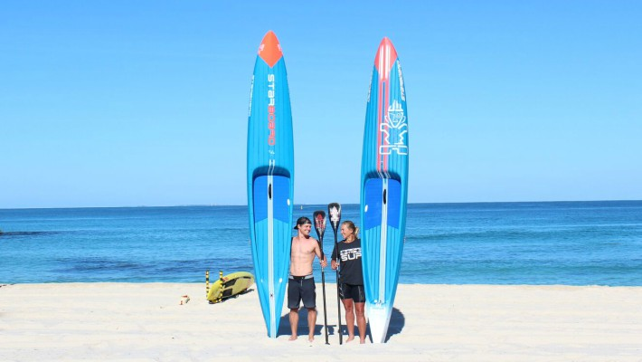 Michael Booth and Belinda Stowell-Brett, both Aussie Starboard SUP riders, pose for the promotion of the Stand Up Surf Shop King of the Cut 2017