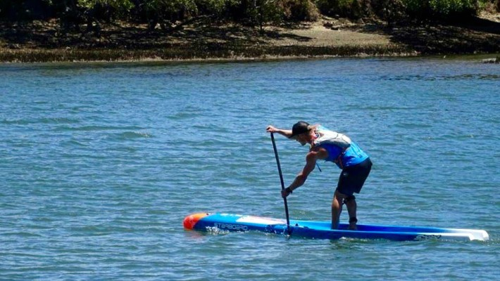 Starboard SUP rider Michael Booth makes awesome strides during a flatwater training session