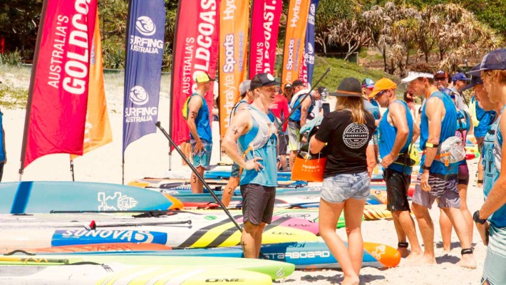 Michael Booth chats with a female SUP rider counterpart between races at the 2017 Australian SUP Championship