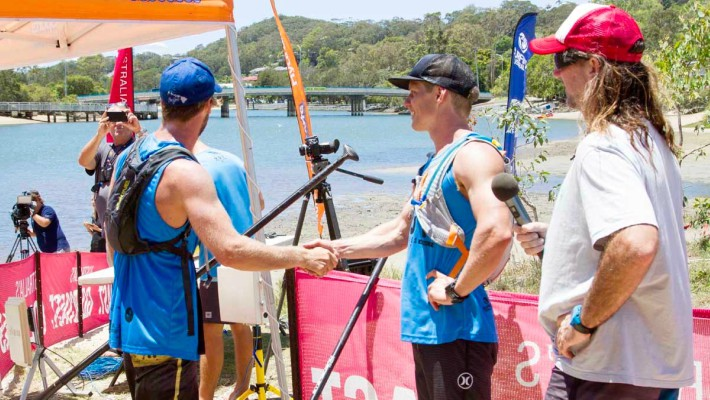Michael Booth concludes an interview with local media outlets at the 2017 Australian SUP Championship