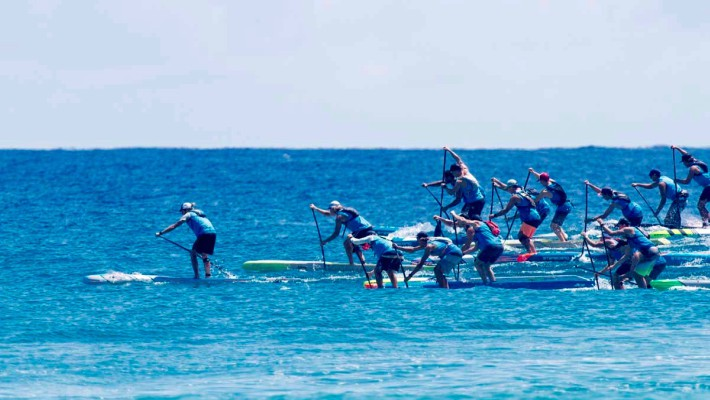 Racers battle it out at the 2017 Australian SUP Championship in Gold Coast, Australia
