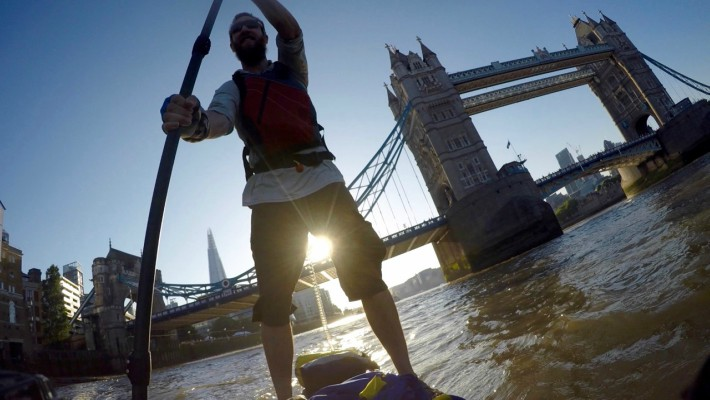 SUP adventurer Mark Hines on the Thames River in London before embarking on his transeuropean expedition