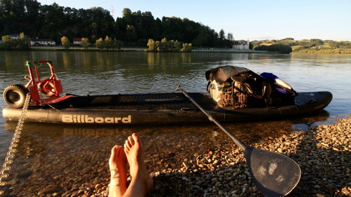 Mark Hines takes a much needed break as he continues along his intense pan-European SUP expedition on the Danube