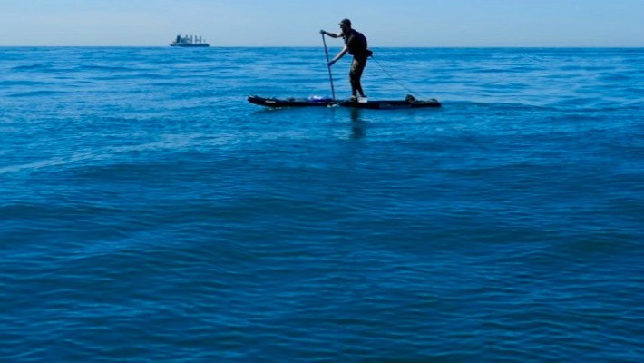 Mark Hines practices his SUP technique in warmer climates before embarking upon on his Danube stand up paddle expedition