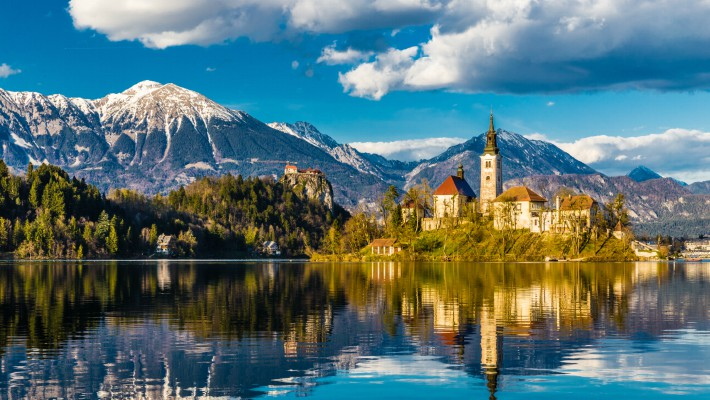 The picturesque setting of Lake Bled in Slovenia