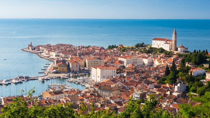 The quaint coastal town of Piran, Slovenia, viewed from above in the summer months
