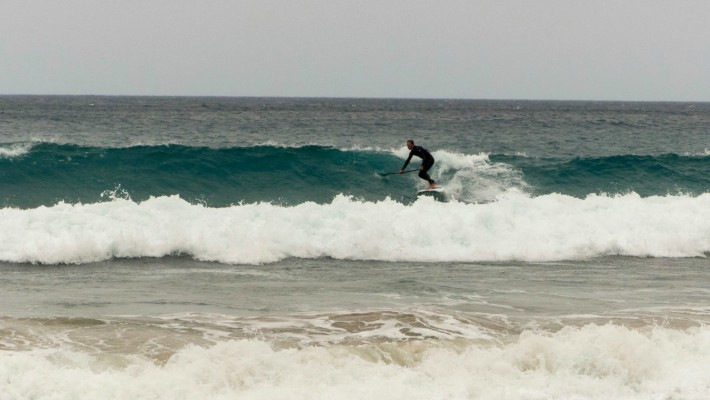 Dimitris Komninos making great use of the Meltemi winds and SUP surfing