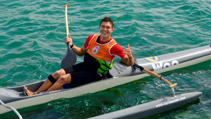 Paul Lenfant sits aboard the Rafale, another model French outrigger canoeing brand Woo